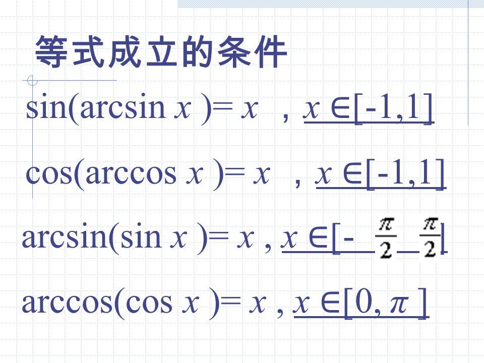 等式成立的条件 sin(arcsin x )= x ,x ∈[-1,1] cos(arccos x )= x ,x ∈[-1,1] arcsin(sin x )= x , x ∈[- , ]